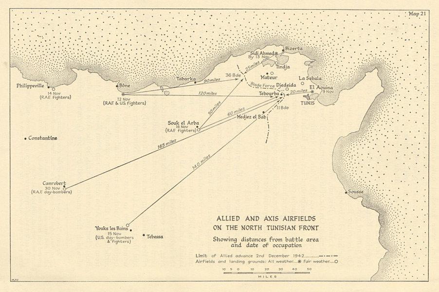 Associate Product Allied & Axis airfields, North Tunisian Front 1942. World War 2 1966 old map