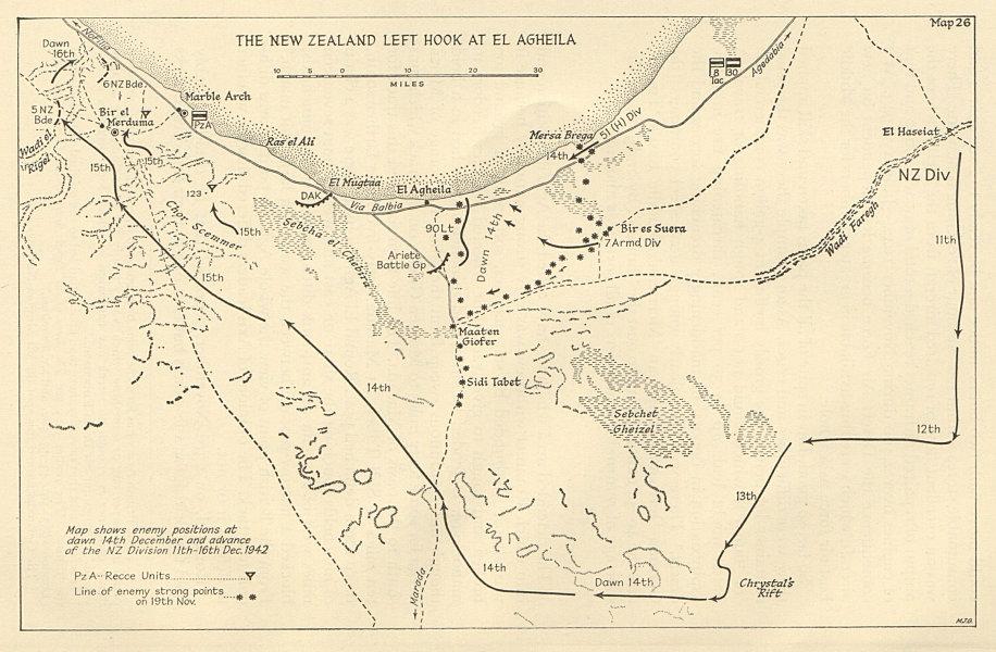 Battle of El Agheila. New Zealand left hook 11-16 December 1942. Libya 1966 map