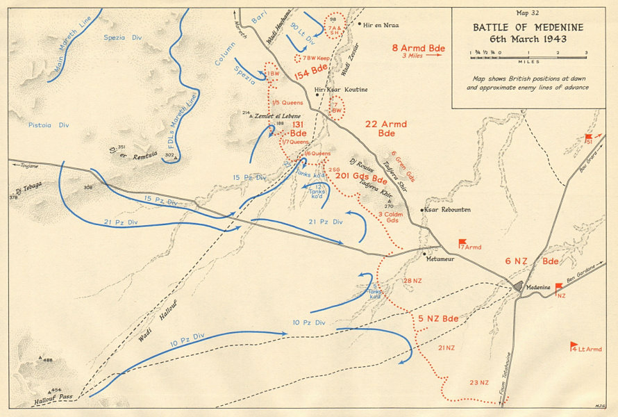 Associate Product Battle of Medenine 6th March 1943. Tunisia. World War 2 1966 old vintage map