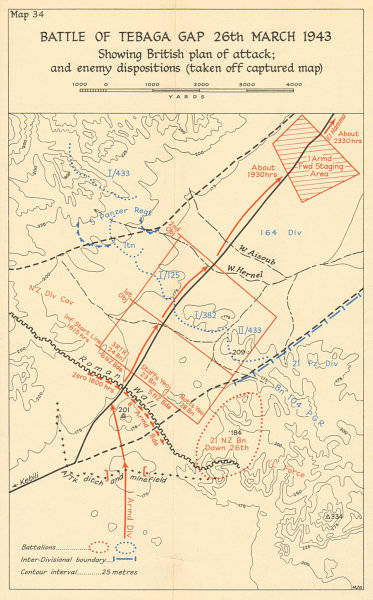 Associate Product Battle of the Mareth Line/Tebaga Gap 26 March 1943. Tunisia WW2 1966 old map