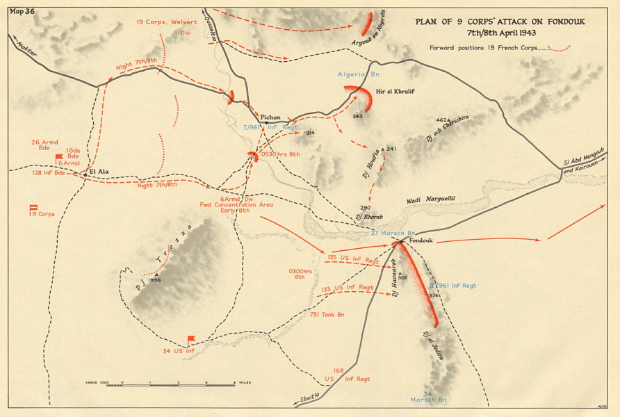 Associate Product 9 Corps' attack on Fondouk 7th/8th April 1943. Tunisia World War 2 1966 map