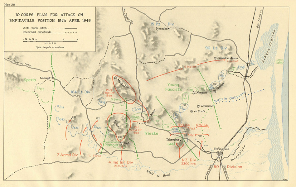Associate Product 10 Corps attack on Enfidaville position 19 April 1943. Tunisia WW2 1966 map