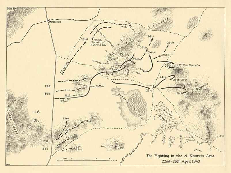 Associate Product Fighting in the el Kourzia area 22-26 April 1943. Tunisia WW2. SMALL 1966 map