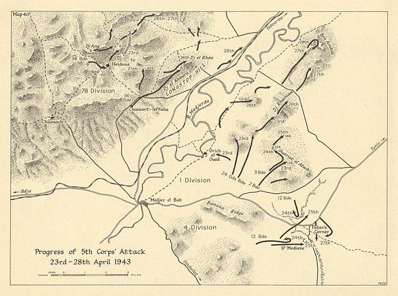 Majaz al Bab 5th Corps attack 23-28 April 1943. Tunisia WW2. SMALL 1966 map