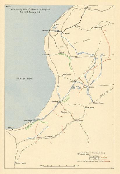 Associate Product Axis advance to Benghazi 21-28 January 1942. Libya. Desert War. WW2 1960 map