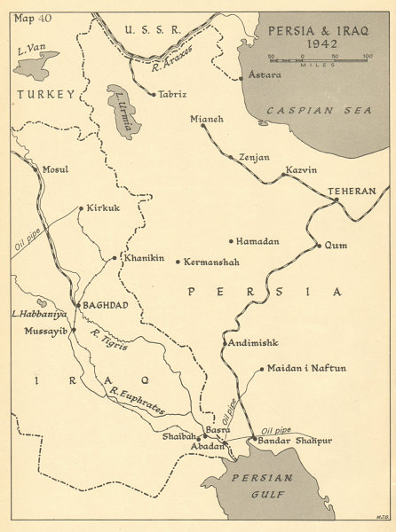 Details about Persia and Iraq 1942. World War 2 Middle East Theatre. Iran  1960 old map