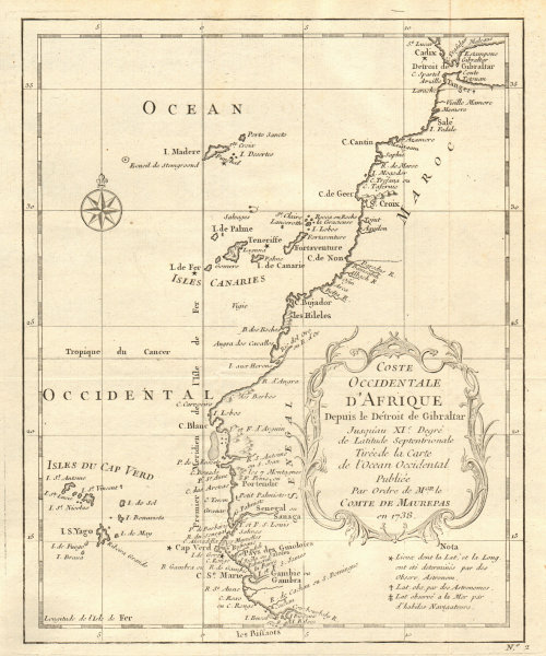 'Côte Occidentale d'Afrique…' NW Africa Madeira Canaries Senegal BELLIN 1746 map