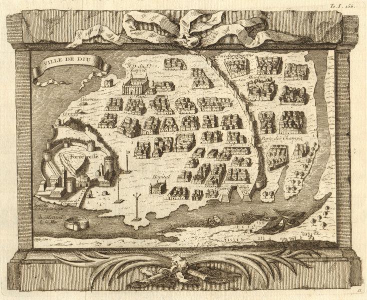'Ville de Diu'. India. City town & fortress plan, Daman & Diu. BELLIN 1746 map