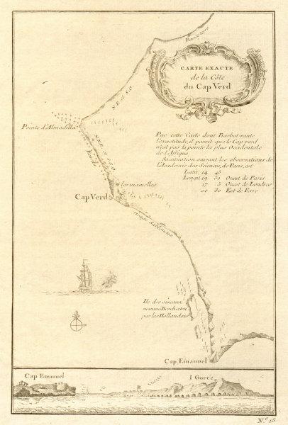 Carte Senegal Cap Vert.Details About Carte Exacte De La Cote Du Cap Verd Cap Vert Dakar Senegal Bellin 1746 Map