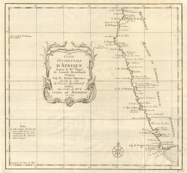 Associate Product 'Coste Occidentale d'Afrique…' Namibia South Africa Angola coast BELLIN 1746 map