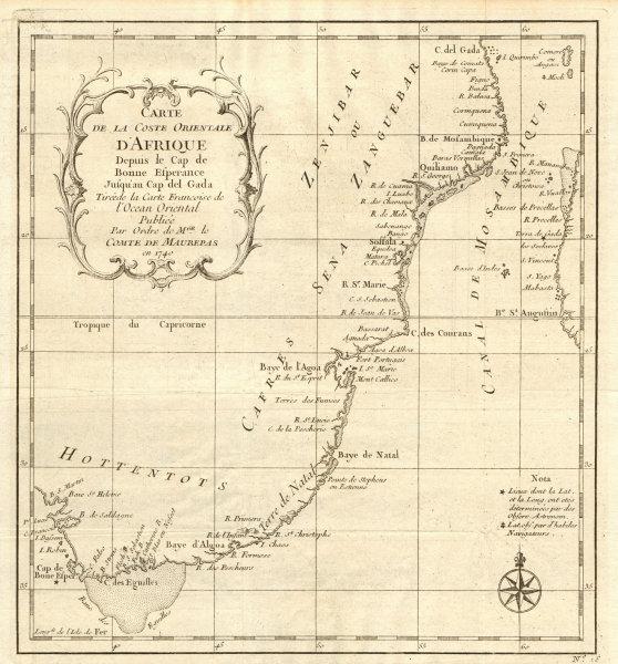Associate Product 'Coste Orientale d'Afrique…' South Africa. Mozambique channel. BELLIN 1746 map