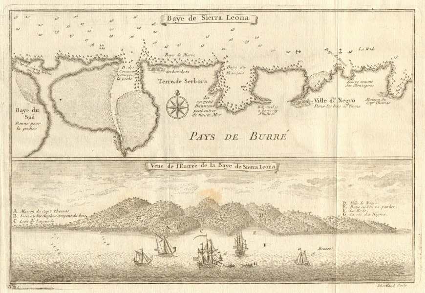 Associate Product 'Baye de Sierra Leona'. North shore of Freetown, Sierra Leone. BELLIN 1746 map