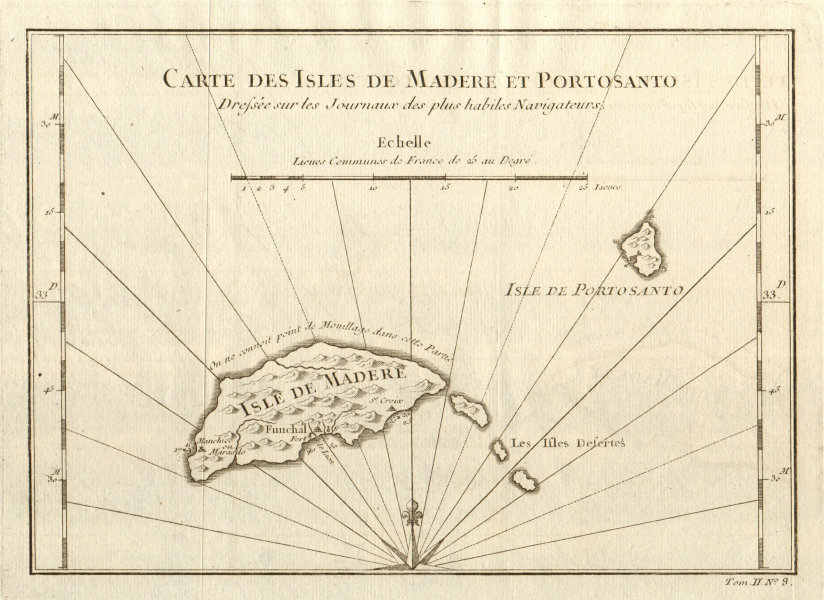Associate Product 'Carte des Isles de Madère & Porto Santo'. Madeira. Funchal. BELLIN 1746 map