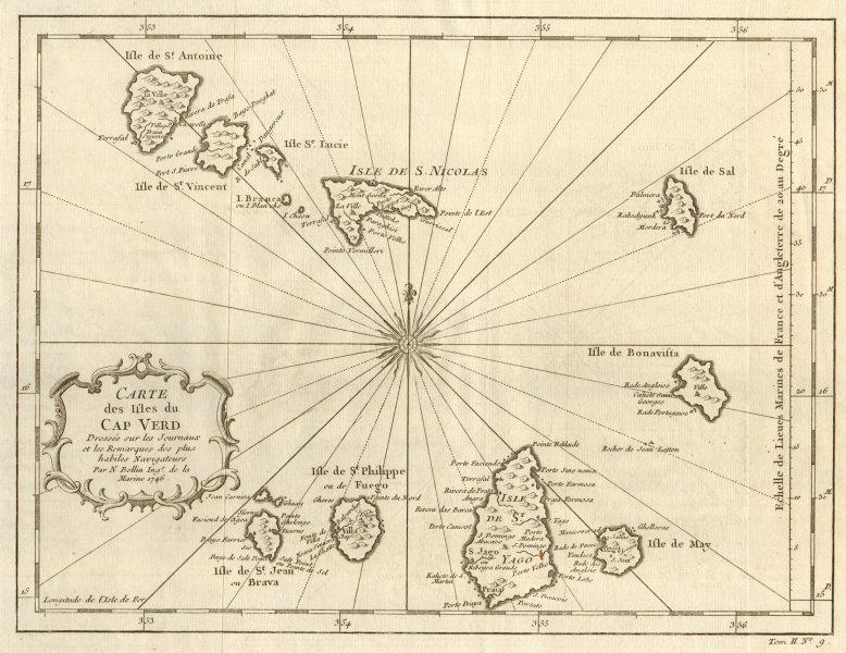 Associate Product 'Carte des Isles du Cap-Verd'. Cape Verde islands. Sal Santiago. BELLIN 1746 map