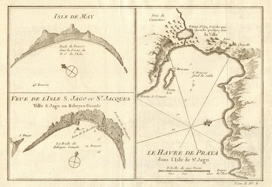 Associate Product Cabo/Cape Verde islands. Praia bay/Ribeira Grande Santiago. Maio BELLIN 1746 map