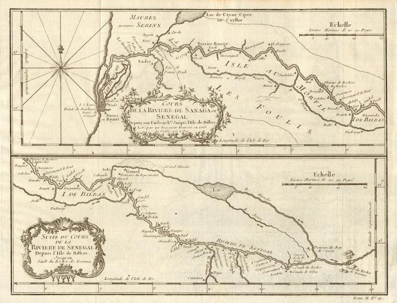 'Cours de la Rivière de Sanaga ou Sénégal'. Senegal River. BELLIN 1746 old map
