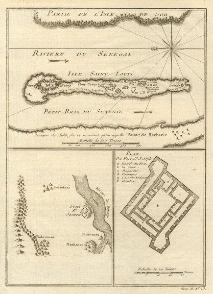 Associate Product River Senegal estuary. Isle St. Louis. Fort St. Joseph. BELLIN 1746 old map