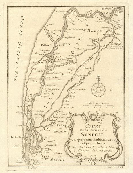Associate Product 'Cours de la Riviere du Senegal' river to the desert. BELLIN 1746 old map