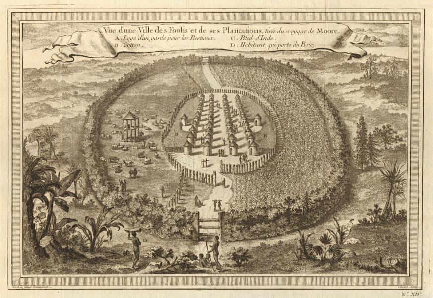 'Une ville des Foulis & de ses plantations'. Gambia Fulani town. Cotton 1746
