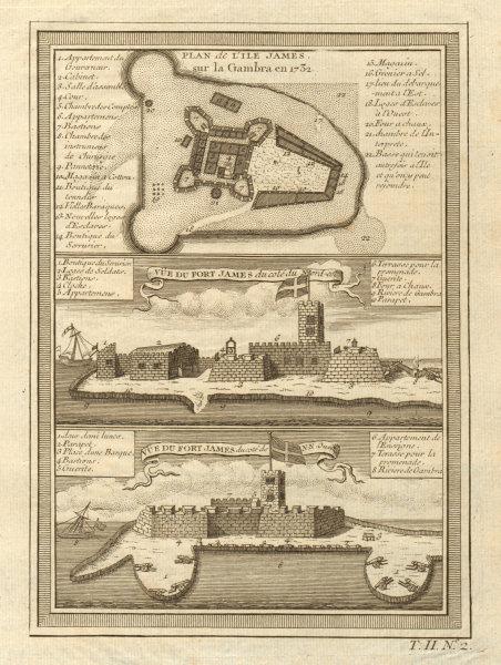 Associate Product Fort James plan/view, Kunta Kinteh Island, Gambia River. Gambra. BELLIN 1746 map