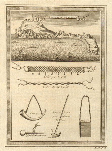 Associate Product 'La Rade de l'lle de Gorée'. Goree, Dakar, Senegal. Slave trade. Necklaces 1746