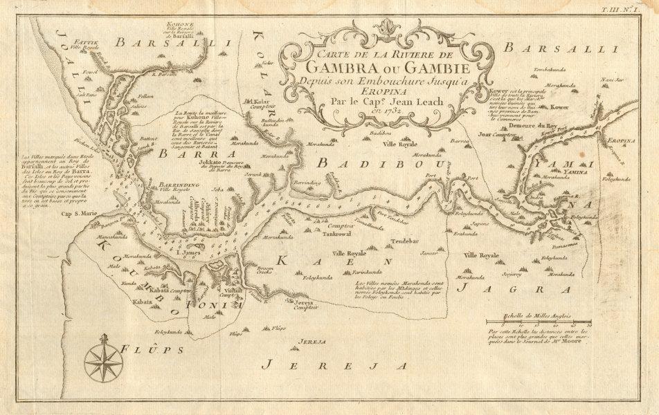Associate Product 'Carte de la Rivière de Gambra ou Gambie…' Gambia River. LEACH / BELLIN 1747 map