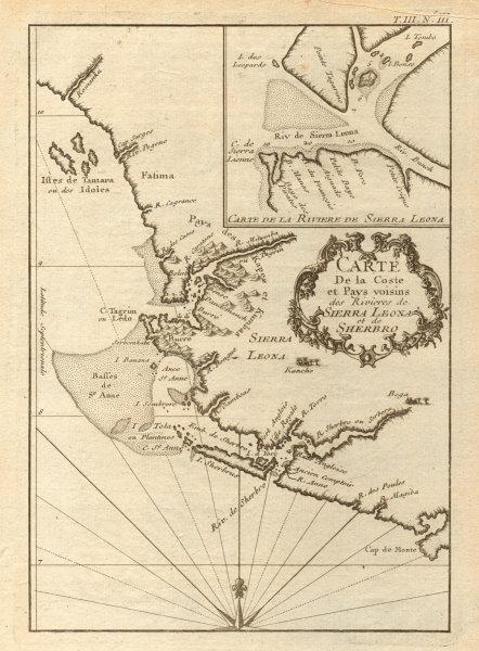 Associate Product 'Coste… des Rivières de Sierra Leona & Scherbro'. Sierra Leone. BELLIN 1747 map