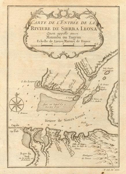 Associate Product 'Riviere de Sierra Leona…' Tagrin Bay & Freetown, Sierra Leone. BELLIN 1747 map