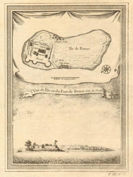 'Vue de I'Isle & du Fort de Bense'. Bunce Island, Sierra Leone. BELLIN 1747 map