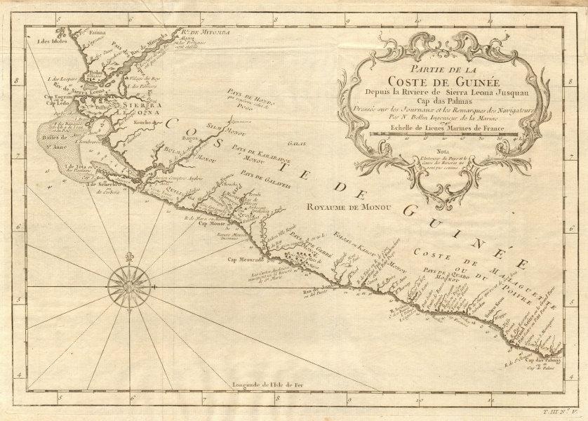 Associate Product 'Partie de la Coste de Guinée'. Sierra Leone & Liberia coast. BELLIN 1747 map