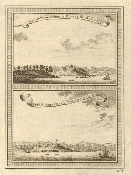 Associate Product Ghana. Fort Batenstein at Butre, and Fort San Sebastian at Shama 1747 print