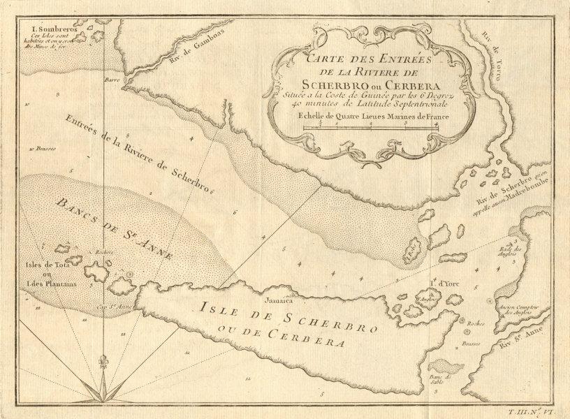 Associate Product 'Entrées de la riviere de Scherbro'. Sherbro river Sierra Leone. BELLIN 1747 map