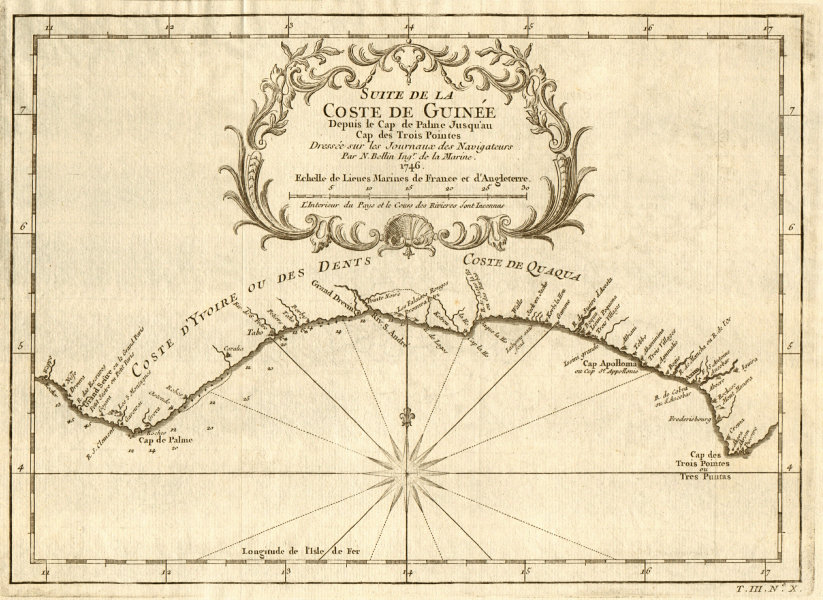Associate Product 'Suite de la Coste de Guinée…' Liberia Ivory Coast Ghana coast. BELLIN 1747 map