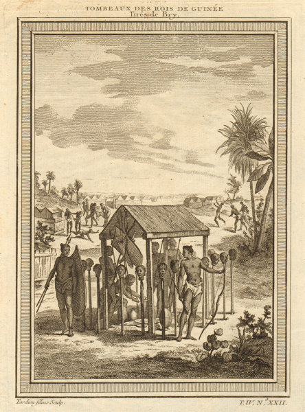 Associate Product West Africa. Shrines of the Kings of Guinea, from Bry. Heads on stakes 1747