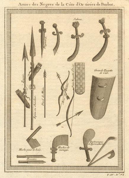Associate Product 'Armes des Négres de la Côte d'Or'. Ghana. Gold Coast weapons. Barbot 1747