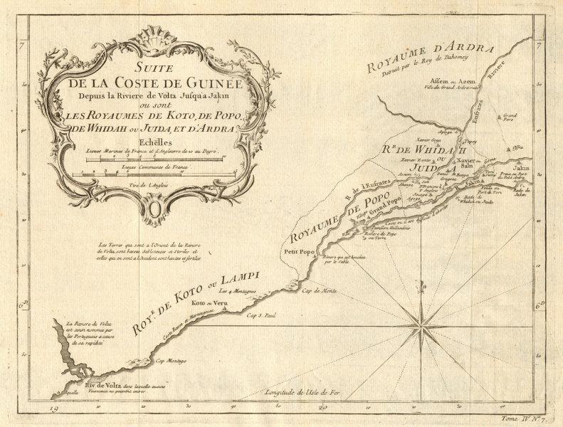 Associate Product 'Suite de la Coste de Guinée'. Ghana Togo Benin coast. Whidah. BELLIN 1747 map