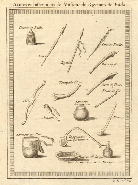 Associate Product Benin. Weapons, musical instruments & farm tools. Kingdom of Whydah Ouidah 1747