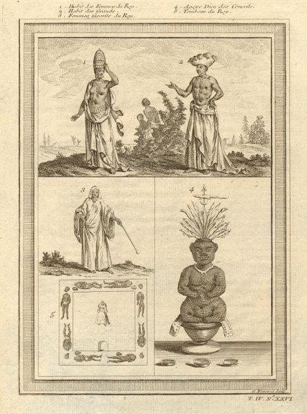 Associate Product Benin costume. Whydah Ouidah. King's wives. Grandees. Agoye God of Counsel 1747
