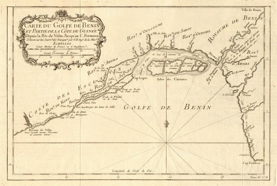 Associate Product 'Carte du Golfe de Benin'. Bight of Benin. Nigeria coast. Lagos. BELLIN 1747 map