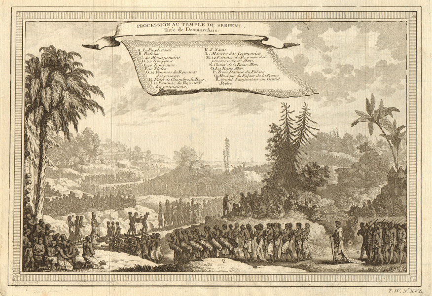Associate Product 'Procession au Temple du Serpent'. Whydah Ouidah Serpent cult. Desmarchais 1747