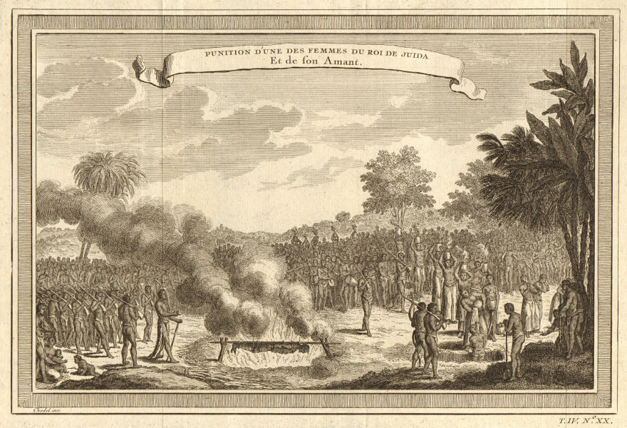Benin. Punishment of unfaithful wife of King of Whydah & her lover. Ouidah 1747