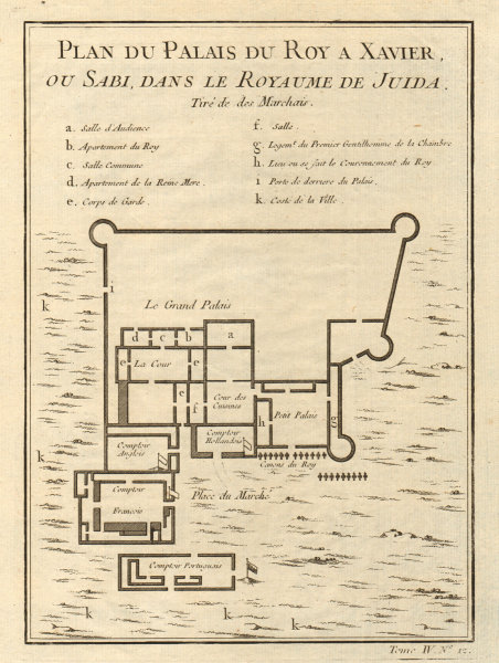 Associate Product 'Palais du Roy à Xavier'. King's Palace, Ouidah, Benin. Whydah. BELLIN 1747 map
