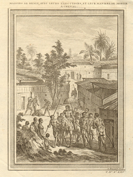 Associate Product Houses of Benin. Beheading executions. Horseback riding sidesaddle 1747 print