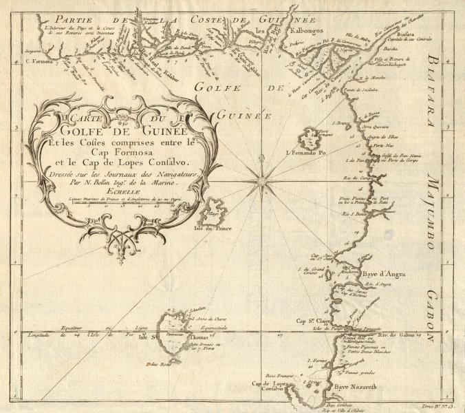 Associate Product 'Carte du Golfe de Guinée'. Gulf of Guinea. Nigeria & Cameroon. BELLIN 1747 map