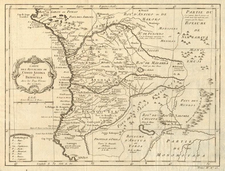 Associate Product 'Carte des Royaumes de Congo, Angola et Benguela' & Gabon Africa BELLIN 1747 map