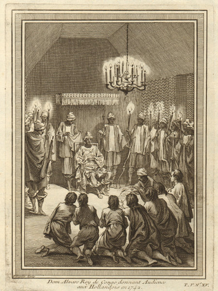 Associate Product King of Kongo (probably Alvaro VI), audience with the Dutch in 1742. Congo 1748