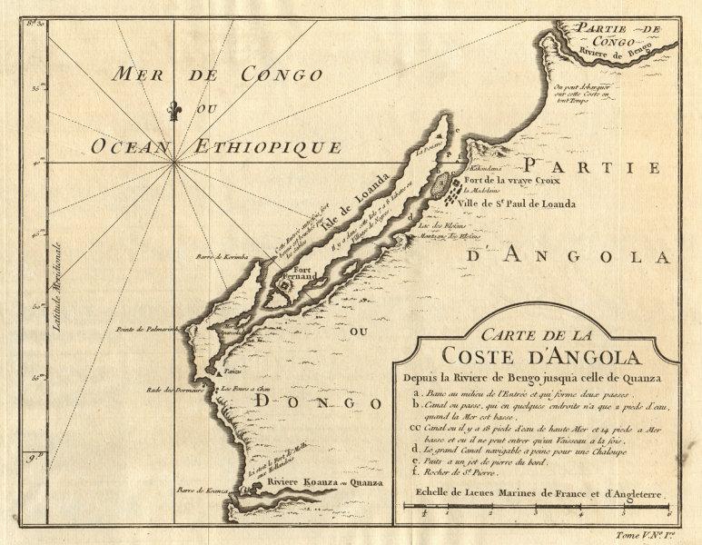 Associate Product 'Coste d'Angola…' between Bengo & Cuanza Rivers. Luanda environs BELLIN 1748 map