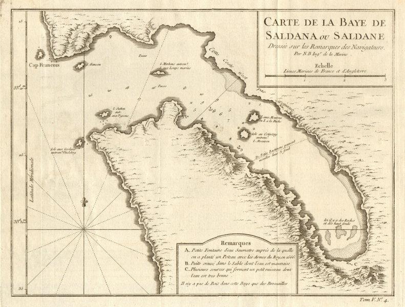Associate Product 'Carte de la Baye de Saldana'. Saldanha Bay, South Africa. BELLIN 1748 old map