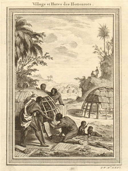 'Village & Hutes des Hottentots'. Southern Africa. Khoikhoi kraal village 1748