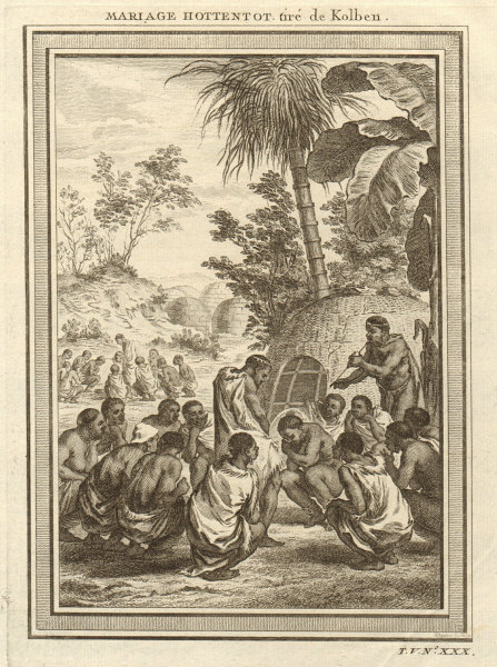 Associate Product 'Mariage Hottentot'. Southern Africa. Khoikhoi wedding marriage. Kraal 1748